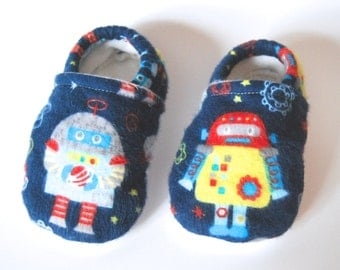 """Flannel """"Space Robot"""" Baby Slippers - Fleece Lined - Tread, No Slip Sole (booties, shoes)"""