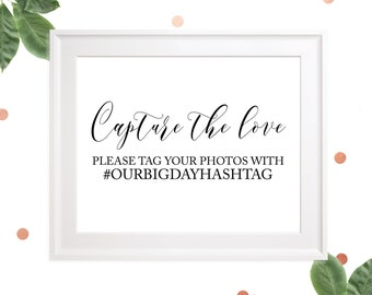 Wedding personalized hashtag sign-Help us capture the love wedding sign-Wedding social media elegant calligraphy sign-Printable Wedding Sign