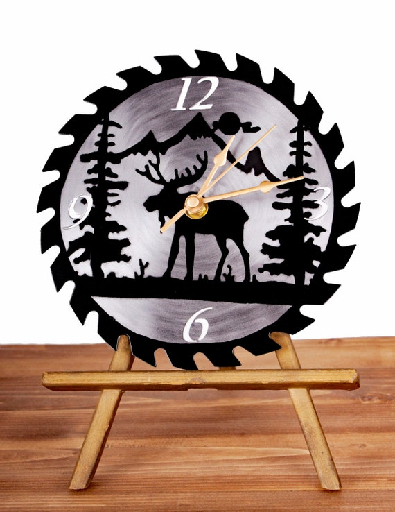Moose Silhouette Saw Blade Wall Clock