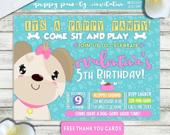 PRINTABLE or PRINTED|| Puppy Paw-ty Birthday Invitation|| FREE Thank you cards|| Any occasion, any wording!!
