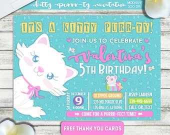 PRINTABLE or PRINTED|| Kitty Purrr-ty Birthday Invitation|| FREE Thank you cards|| Any occasion, any wording!!