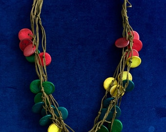 Colourful wooden bead necklace. (Stock no. 51)