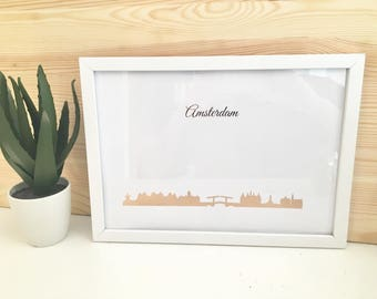 Rose Gold Amsterdam Cityscape/ Skyline Print With Frame Included