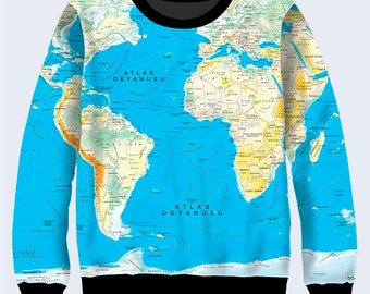 World Map Sweatshirt, Geography Sweatshirt for Women, Blue Sweater, Jumpers for Women, Pullover Sweater, Gift for Traveller