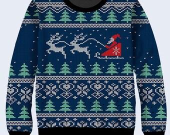 Christmas Sweater, Pixels Mens Sweaters, Santa Sweaters for Men, Crew Neck Sweatshirt, Sweat Shirt, Primitive, Deep Blue