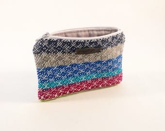 Handwoven and Sewn Small Zippered  Bag - great to organize your purse for cards, coins or cosmetics
