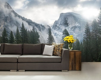 FOREST WALL MURAL, snow wall mural, nature forest, forest mural, self-adhesive vinly, mountains wall mural, Alps wall mural, wallpaper