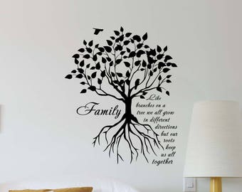 Charmant Family Tree Wall Decal Quote Tree Roots Nature Gift Living Room Lettering  Vinyl Sticker Home Bedroom