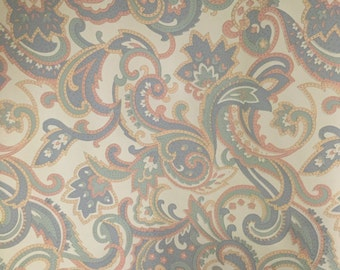 Vintage Paisley Wallpaper  for home decor / Craft Paper  Pastel colors  37.5 sq ft