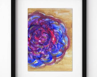 Original Flower painting, Abstract artwork, Modern Floral Acrylic, Contemporary art, Bold artwork, Bright Floral, Red, gold, purple