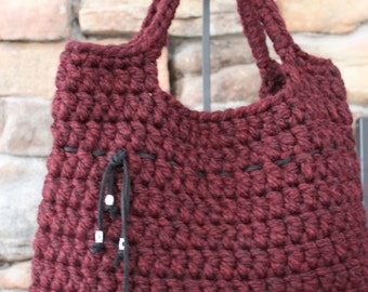 Crocheted Handbag - Tote - Market Bag (Claret)