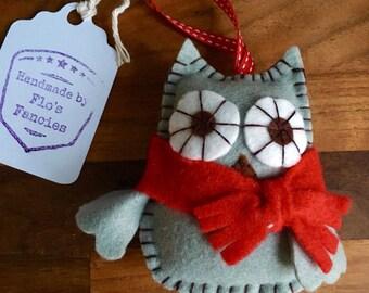 Handmade Felt Owl Christmas Tree Decoration
