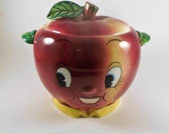 Vintage PY Coronet Miyao Anthropomorphic Apple Face Cookie Jar