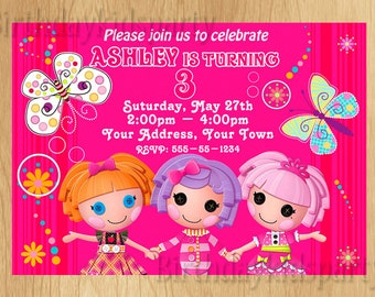 Lalaloopsy invitation, Lalaloopsy Birthday Invite, PERSONALIZED, Digital File