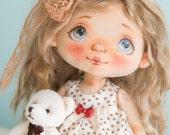 OOAK art doll, rag doll, fabric doll, textile interior doll, handmade doll, vintage doll, unusual gift, home decoration - AliceMoon #15