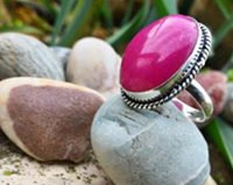 Beautiful pink Agate ring size (not adjustable) 56.5 US 7.75