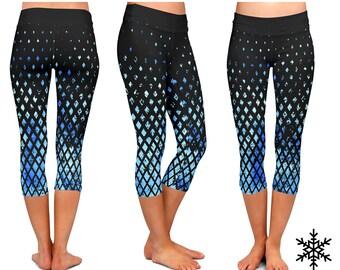 LEGGINGS - Blue Yoga Leggings - Blue Yoga Pants watercolor mandala Yoga capri black leggings fitness workout Yoga Blue Pants Leggings
