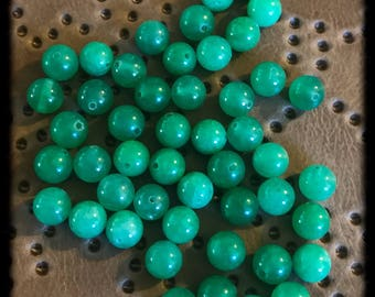 Green Riverstone Beads - 8mm Rounds - 40+ beads - A23