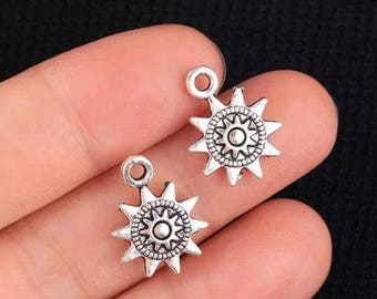 Pair - 17X13mm  Antique Tibetan Silver Charms Sun Flowers D23