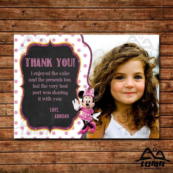 Minnie Mouse Birthday Thank You, Minnie Mouse Birthday, Disney Thank You, Minnie Birthday Thank You, Minnie Mouse