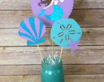 Mermaid Party Centerpieces- Mermaid- Under the sea- ocean- beach- seashells- birthday party- baby shower- purple and aqua- purple and teal-