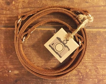 Handcrafted leather camera neck strap handmade USA