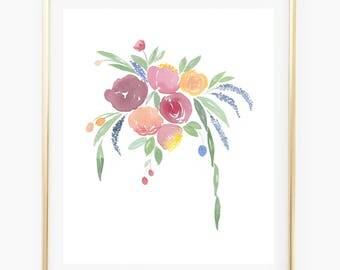 Colorful bouquet - Watercolor Art Print