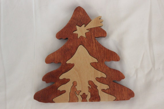 Items Similar To Hand Made Wood Nativity Christmas Tree