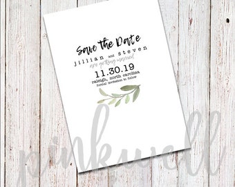 Simple Minimalistic Olive Branch Save the Date - DIGITAL FILE