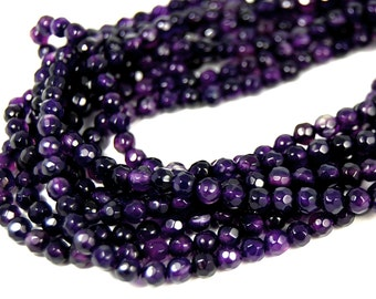 Two strands, Indigo Purple Agate Faceted 4mm -15""