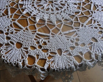 Crochet Tablecloth, Vintage Round Tablecloth, Grey Tablecloth, Coffe Table, Round Tablecloth, Vintage Tablecloth, Handmade Tablecloth