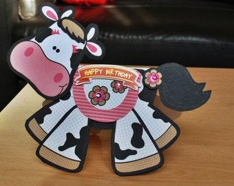 3D Wobbler Cow Birthday Card - Male/Female/Boy/Girl/Childrens - Handmade, Fun & Personalised