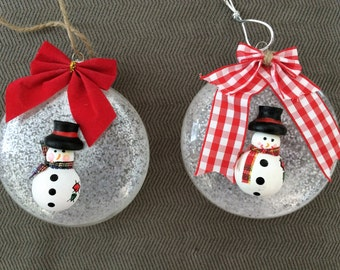 Glass Snowman Ornaments