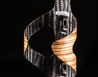 Zebrano Wood and Carbon Fiber Bottle Cage