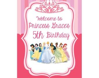 Disney Princess Backdrop 4'x3' // Custom Vinyl Banner // Princess Birthday Backdrop // Disney Princess Birthday Decor Custom Birthday Banner