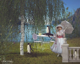 Mary Poppins Digital Background -Supercalifragilisticexpialidocious -Weeping Willow - Penguins -Disney Inspired Photoshop Template