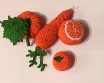 crochet food . Knitted vegetables and fruit, birthday, eco-friendly toys.Crochet Play Food
