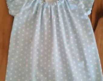 Turqoise polka dot little girls upcycled dress size 1 year old.
