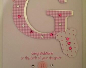 Handmade Personalised Newborn Baby Girl Card