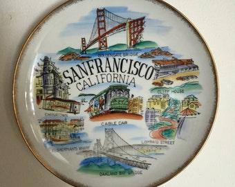 Vintage San Francisco Plate | San Francisco Wall Hanging | Vintage San Francisco Decor