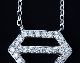 Diamond shaped charm necklace , diamond pendent , white gold chain, 18karat gold chain and necklace