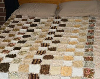 Rag Quilt Queen Size Bed Quilt