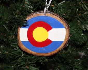 Colorado State Flag Ornament on Aspen Wood Slices - Real Colorado Aspen Wood