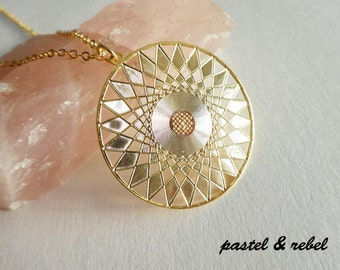 Pachamama, 14c gold filled necklace with mandala pendant