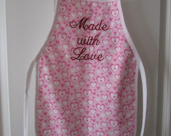 "Child's Apron ""Made With Love"" for Valentine's Day"