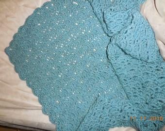 Crocheted baby blanket, blue baby blanket, photo prop blanket, baby afghan
