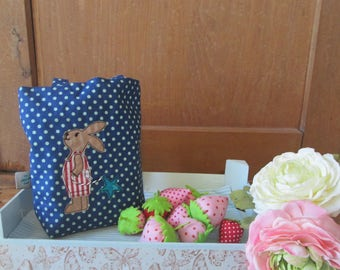 Small bag with bunny embroidery, Easter bag