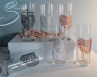 6 pint glasses heart design