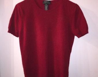 Vintage Red Ralph Lauren Short Sleeve Sweater, Cashmere Merino Wool Angora Rabbit Hair Blend, Super Soft Sweater T-Shirt