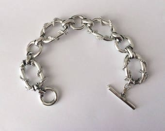 Vintage 1960's Silver Twisted Rope Toggled Clasp Chain Bracelet